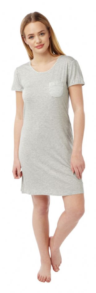 Ladies Cap Sleeved Round Neck Nightdress Grey Marl Sizes 10 - 20
